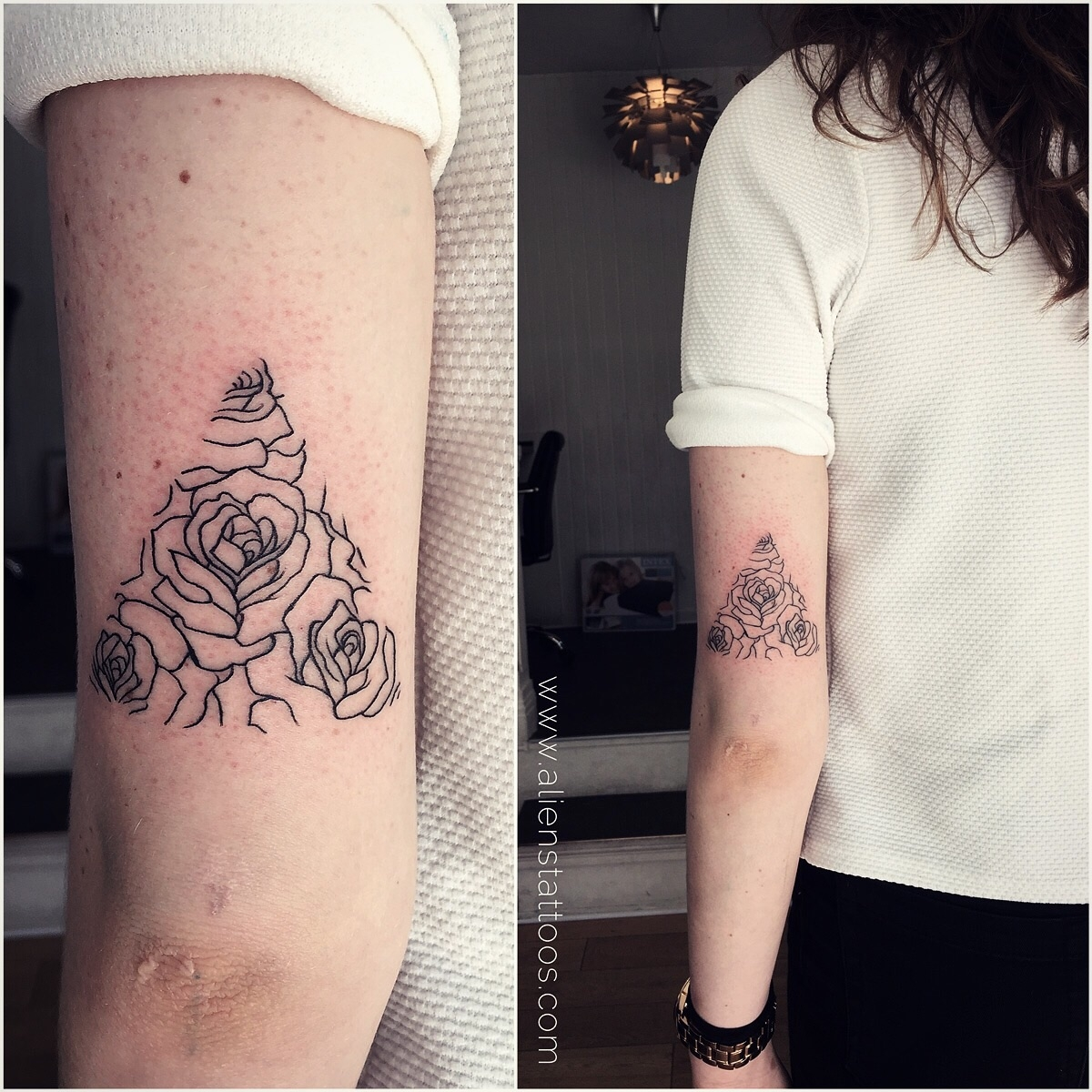 line-art rose tattoo
