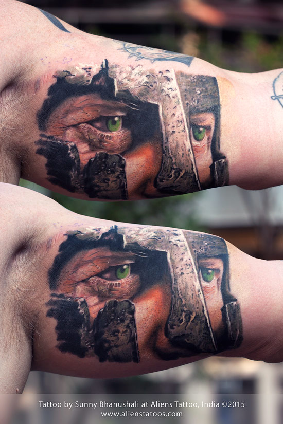 warrior portrait tattoo-realistic tattoo