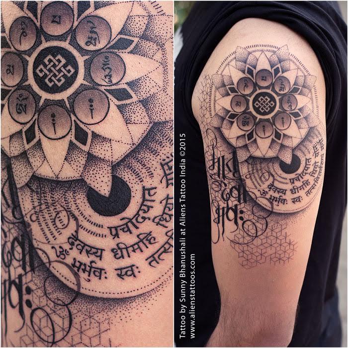 Dot work mandala tattoo
