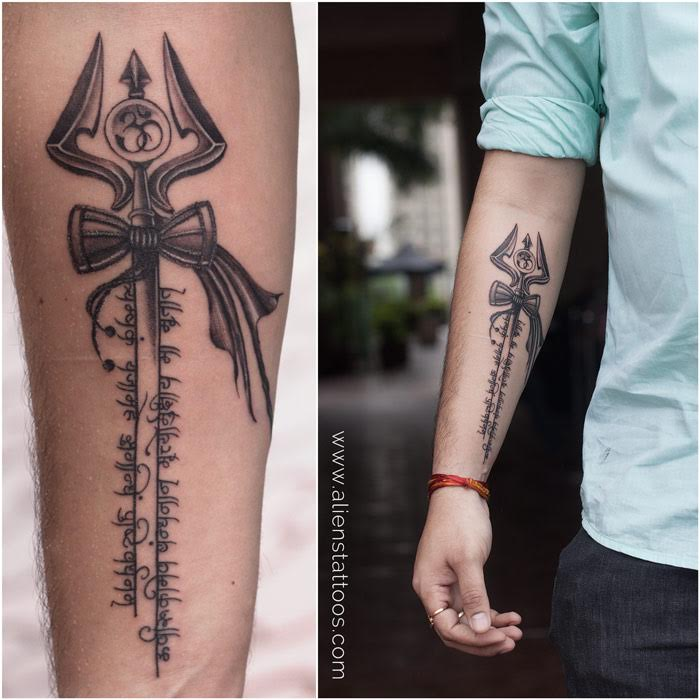 Forearm tattoo trishul